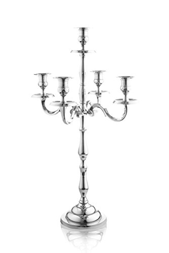 Klikel Heritage 24 Inch Silver 5 Candle Candelabra - Classic Elegant Design - Wedding, Dinner Party And Formal Event Centerpiece - Nickel Plated Aluminum, Mirrored Finish