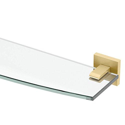 Gatco 4066 Elevate Glass Shelf, Brushed Brass