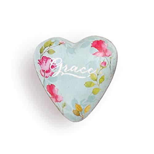 DEMDACO Grace Floral Pink 2 x 2 Resin Stone Collectible Art Heart Token Figurine