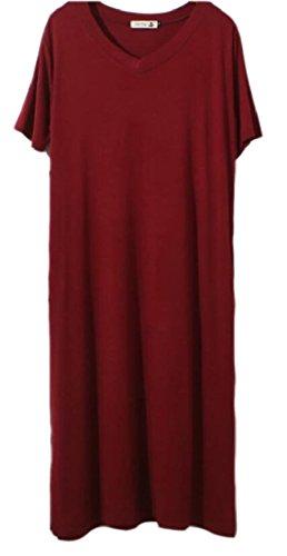 Jaycargogo Lato Donne Manicotto Vestito Lungo V Rosso Vino collo Fessura Maxi rSfrqpPn