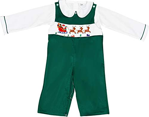 Baby Toddler Boys Christmas Santa Smocked Longall Set w/Undershirt 18M