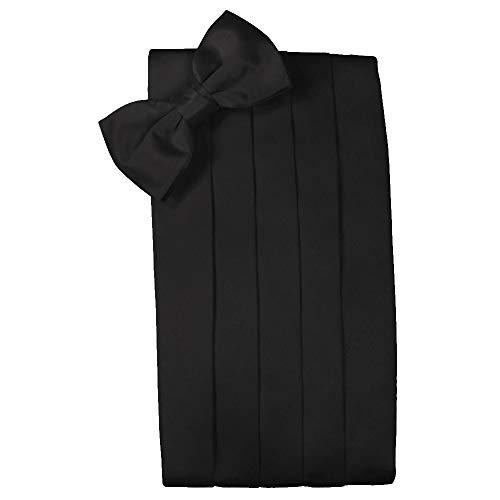 - Men's Solid Satin Cummerbund & Bow Tie Set - Many Colors (Black)