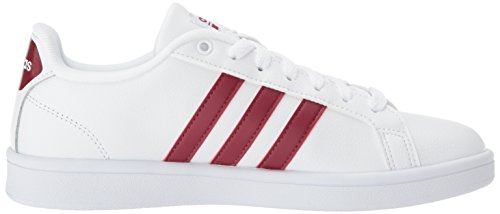 Adidas Dames Cf Advantage Sneaker Wit, Collegiaal Bordeauxrood, Wit