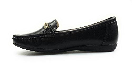 Pierre Dumas Mocassins En Cuir Noir Hazel-7 Femmes Chaussures De Confort (10, Blackkarl2)