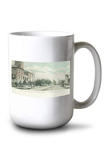 (Alameda, California - Exterior View of Public Library on Santa Clara Ave (15oz White Ceramic Mug))