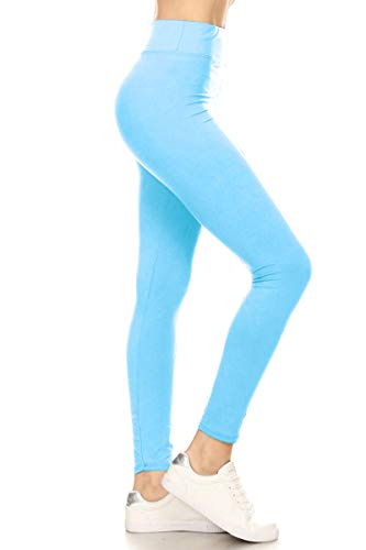 - LYR128-SKYBLUE Yoga Solid Leggings, One Size
