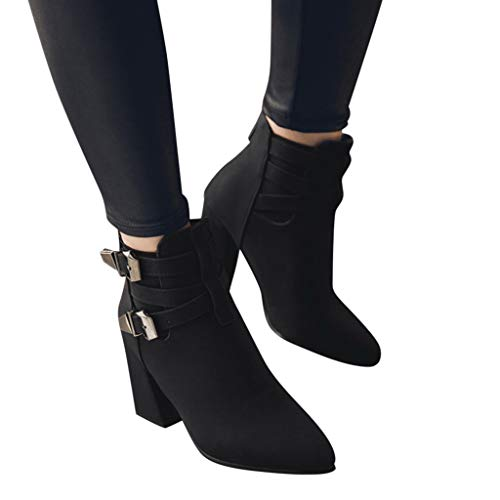 Todaies Women Fashion Warm Metal Super High Thick Heel Ankle