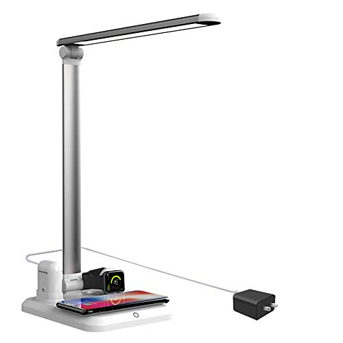 LED Desk Lamp with Wireless Charging and USB Charging Port 4 in 1 Multifunctional Eye-Caring Table Lamp with 3 Brightness Levels QI Fast Charge for Iwatch Airpods iPhone 11/11Pro/Xs Max/Xr/X/8