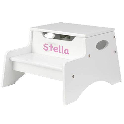KidKraft Personalized Child Stool, Color: White, Name: -