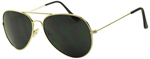 Dark Aviator Sunglasses - Gold Frame Pitch Black Lens