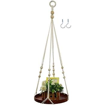 Buy One Get One Free Honest Hanging Shelf Indoor Plant Hanger Planter Rack Flower Pot Holder Boho Home Decor Cotton Rope with Wood Plate