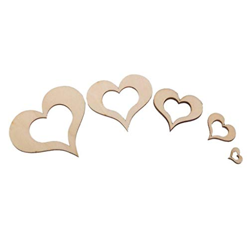 Blank Wooden Heart Shape Wedding Valentine Cardmaking Scrapbooking Embellishment |Size - 10mm-50mm 100pcs|