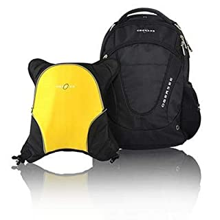 Obersee Oslo Diaper Bag Backpack with Detachable Cooler, Black/Yellow