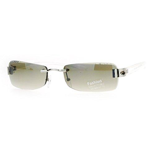 Womens Rimless Sunglasses Rectangular Rhinestone Beveled Lens Clear, Green Smoke