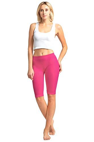 - Women's Ribbed Waistband Knee Length Plain Leggings - Fuchsia