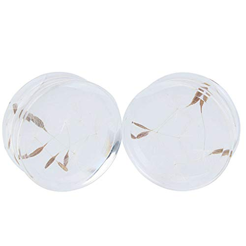 2pcs Clear Cute Dandelion Flower Natural Ear Plug Acrylic Flesh Ear Expander | Item Size - 18mm