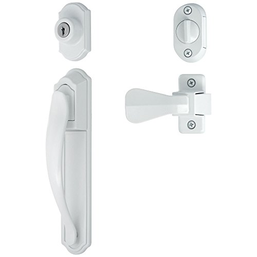 Ideal Security LSDXCR2267WH DX Pull Handle Set for Storm and Screen Doors with with Keyed Deadbolt, White