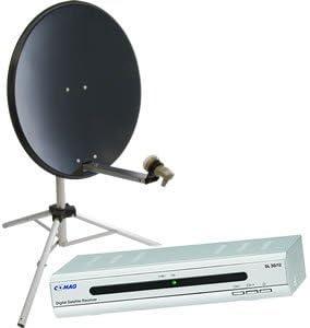 Satgear HD 80 cm antena parabólica portátil con trípode y HD receptor para Caravan/para acampada - gris oscuro