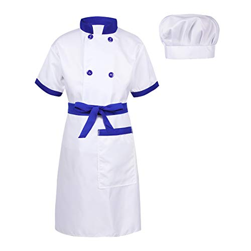 TiaoBug 3pcs Boys Girls Cooking Chef Outfits Halloween Christmas Costume Cosplay Party Dress up Blue&White 4-5