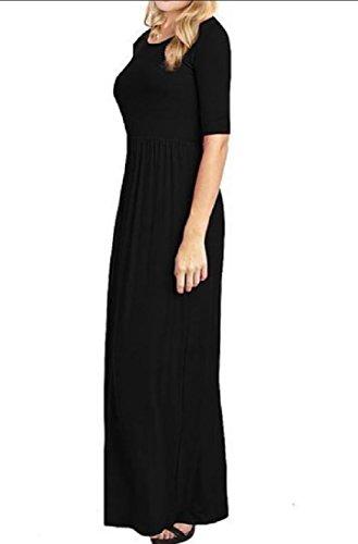 Confortables Simples Sauvages Solides Manches Longues 1/2 Femmes Robes Maxi Longue Noir