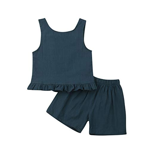 FOCUSNORM Toddler Baby Girls Sleeveless Cotton Linen Tank Tops and Bloomers Outfits Clothes (Green, 2-3 Years)