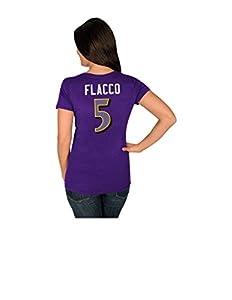 NFL Baltimore Ravens Joe Flacco 5 Women's Her Highlight Player Program Short Sleeve Deep Crew Neck Tee