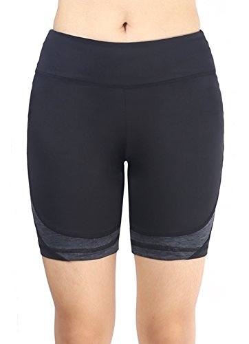 Neonysweets Womens Active Gym Workout Shorts Cycling Running Shorts Black (Bike Baseball Shorts)