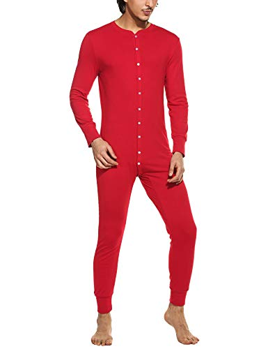 Hotouch Mens Long Sleeve Comfortable Pajamas Thermal Underwear Long Johns Sets - Waffle - Fleece Lined Red -