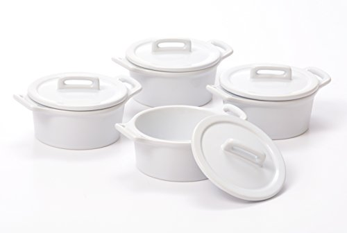 O-Ware White Stoneware Mini Round Baker with Lid, Set of 4 by O-Ware