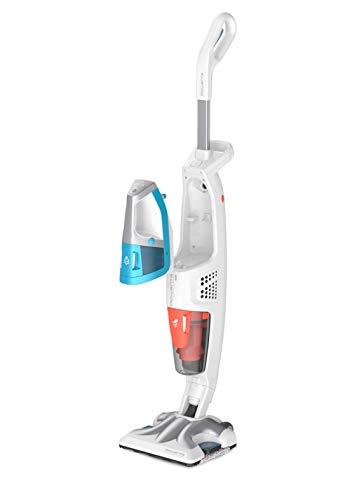 Rowenta - RY8534 Clean & Steam - Multiescoba para Fregadero, aspira e higieniza simultáneamente Todas Las Superficies, Elimina gérmenes y Pilas, depósito portátil extraíble, sin Bolsa, Color Blanco