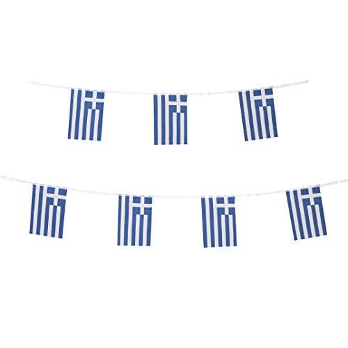 LoveVC Greece Flag, 100 Feet Greek Flag National Country World String Flags Banners,International Party Decorations Supplies for World Cup,Olympics,Sports Clubs
