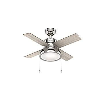 Image of Home Improvements Hunter Indoor Ceiling Fan with LED Light and pull chain control - Loki 36 inch, Brushed Nickel, 59386