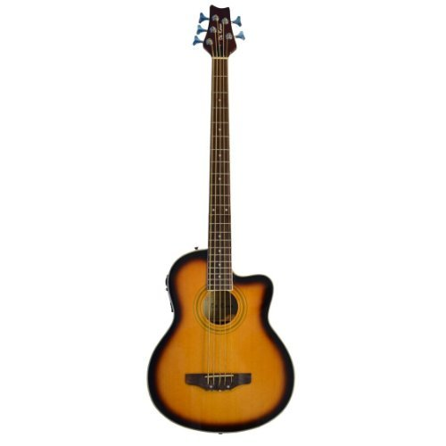 5 String Cutaway Sunburst Acoustic Electric Bass Guitar with 4 EQ - Free Lessons - & DirectlyCheap(TM) Blue Medium Guitar Pick ()