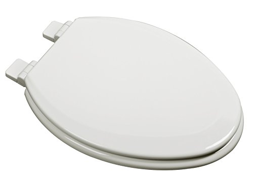 Bath Décor 1F1E7-02 Premium Molded Wood Elongated Toilet Seat with Slow Close Hinge & OSG, Biscuit