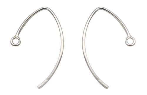92.5 Silver Jewelry - Silver Ear Wires for Making Jewelry, Sterling Silver 925 V Shaped Ear Wires 10 Qty(5 Pairs),Open Ring Size Approx 14x24 MM