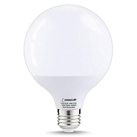 LOHAS 15Watt G30 LED Globe Bulb, 100W Equivalent Edison Style LED Globe Lights, Daylight White 5000K, E26 Socket Decorative Globe Light Bulb, 270 Degree Beam (100watt Edison Light Bulbs)