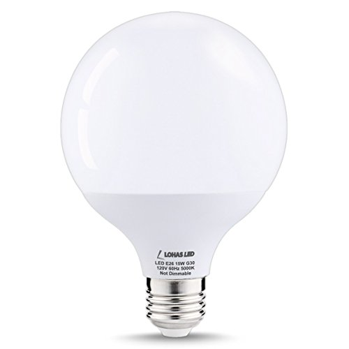 LOHAS 15Watt G30 LED Globe Bulb, 100W Equivalent Edison Style LED Globe Lights, Daylight White 5000K, E26 Socket Decorative Globe Light Bulb, 270 Degree Beam Angle