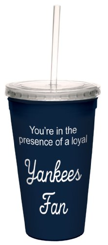 Tree-Free Greetings cc34095 Yankees Baseball Fan Artful Traveler Double-Walled Cool Cup with Reusable Straw, 16-Ounce