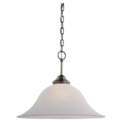 Sea Gull Lighting 65360-965 Single-Light Rialto Pendant, Etched White Alabaster Glass Shade, Antique Brushed Nickel ()