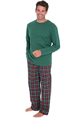 PajamaGram Mens Christmas Pajamas Flannel - Plaid, Solid T-Shirt, Red/Green, MD