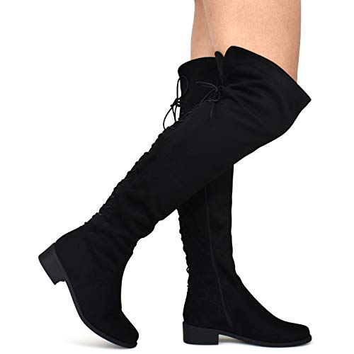 Premier Standard - Women's Over The Knee Back Lace-Up Boot - Trendy Low Block Heel Shoe - Sexy Over The Knee Boot, TPS Boots-55Senoj Black Su Size 7