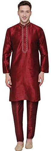 Party Wear Dupion Silk Mens Kurta Pajama India Clothing (Maroon, L) ()