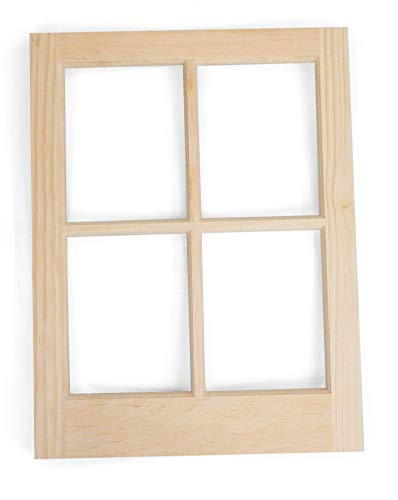 (16 inch by 21 inch Hinged Rustic Shed Window - Unfinished Natural Pine with Single Pane Glass)