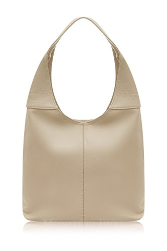 Montte Di Jinne - | 100% Soft Italian Leather | Slouch Shoulder Bag|Gift for Women| Light Taupe