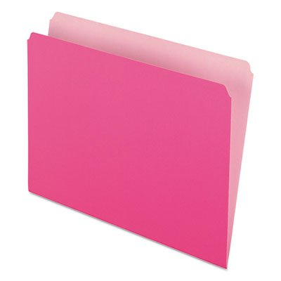 Two-Tone File Folders, Straight Cut, Top Tab, Letter, Pink/Light Pink, 100/Box, Total 500 EA, Sold as 1 Carton