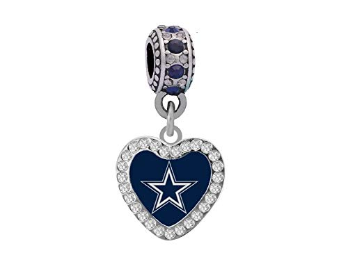 Dallas Cowboys Crystal Heart Charm Fits Most Bracelet Lines Including Pandora, Chamilia, Troll, Biagi, Zable, Kera, Personality, Reflections,& More.