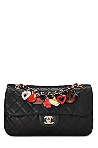 CHANEL Black Quilted Lambskin Valentine Single Flap Medium (Pre-Owned)