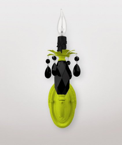 Venus sconce: neon yellow with black crystals (Daniel Sconce Crystal Maura)
