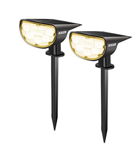 Solar Spotlights, Warm Wit, JESLED Openlucht Draadloze Waterdichte Zonneveiligheid Tuinverlichting, Openlucht 2-in-1…