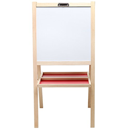 MyGift Kids Deluxe Wooden Free Standing Dry Erase Whiteboard / Chalkboard Easel Stand w/ Art Supply Trays